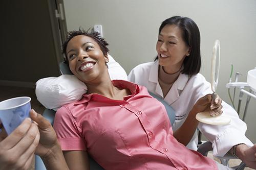woman visiting dentist