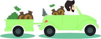 money guy in car